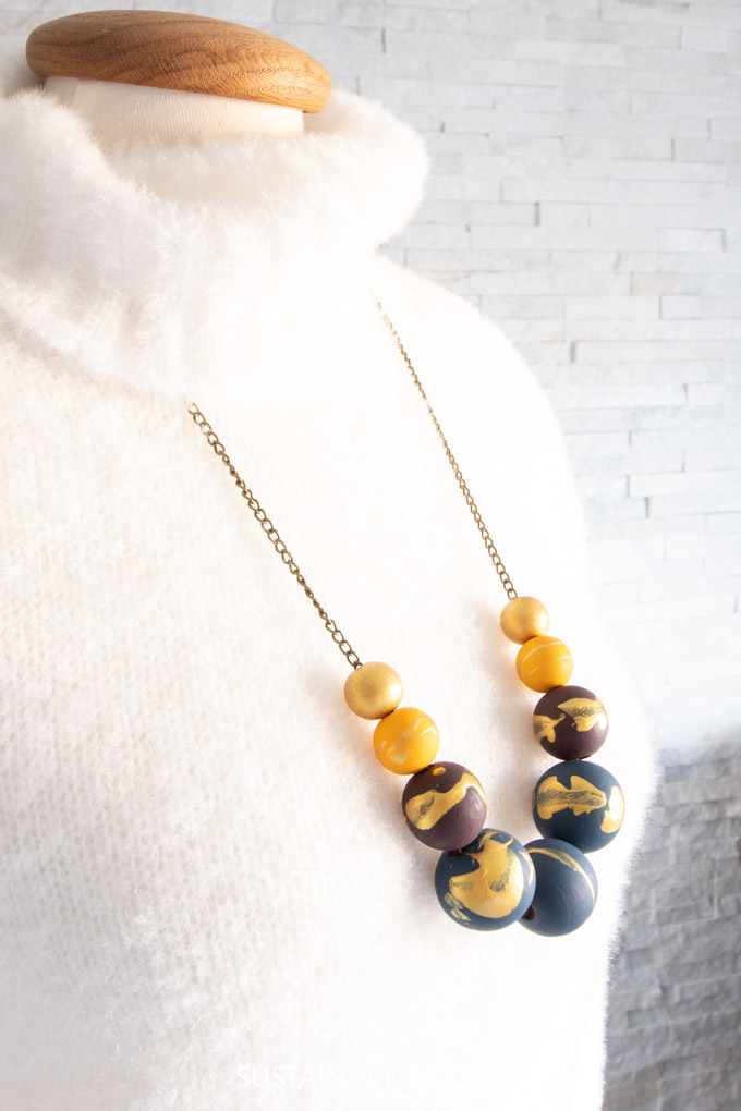 DIY Jewelry Painted Wood Bead Necklace