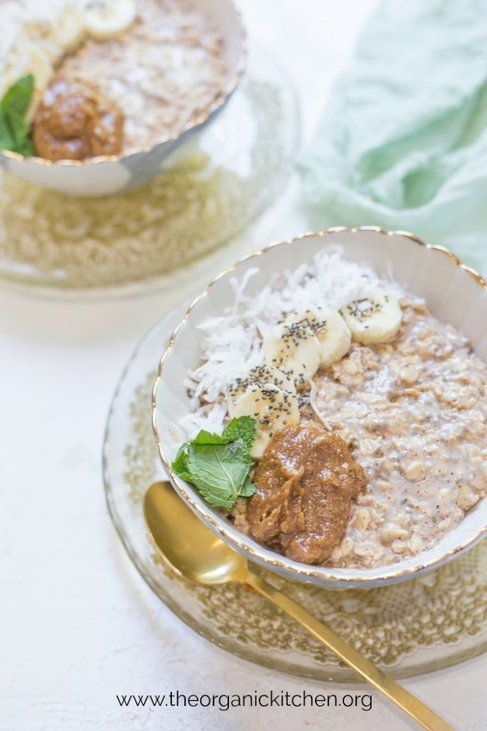Maple, Almond Butter and Banana Overnight Oats