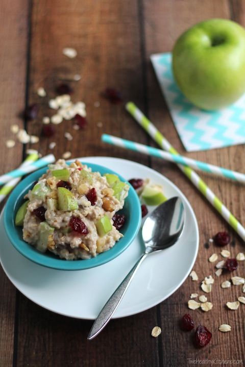 Overnight Oats with Apples, Cranberries and Cinnamon