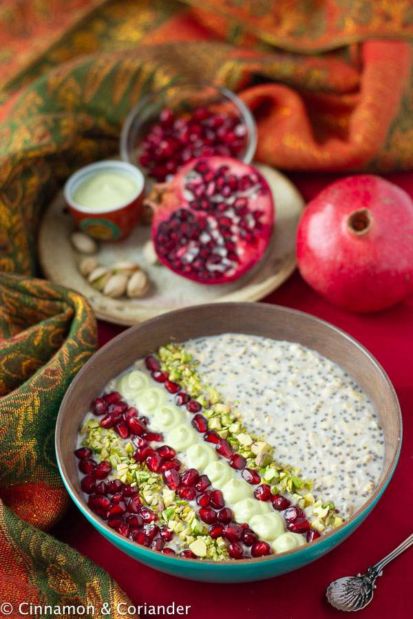 Vegan Overnight Oats with Pistachios, Rosewater & Pomegranate