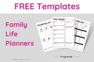 FREE Templates Family Life Planners